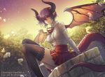 1girl absurdres ahoge artist_name black_legwear blush breasts brown_horns copyright_name dragon_girl dragon_horns dragon_tail dragon_wings eeveetachi frills granblue_fantasy grea_(shingeki_no_bahamut) highres horns huge_filesize large_breasts long_sleeves looking_at_viewer outdoors pointy_ears purple_hair red_eyes red_ribbon red_skirt ribbon shirt short_hair sitting skirt solo tail thigh-highs thighs twilight white_shirt wings