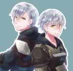 1boy artist_name ashe_duran back-to-back blue_background book crossed_arms epaulettes fire_emblem fire_emblem:_three_houses freckles gloves green_eyes grey_hair highres male_focus solo uniform yori_ill