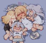 4girls annoyed bed blonde_hair cat cellphone chibi closed_eyes commentary_request cousins curled_up g36_(girls_frontline) g36c_(girls_frontline) girls_frontline grey_hair mg36_(girls_frontline) multiple_girls navel phone shuzi siblings sisters sleeping sweatdrop xm8_(girls_frontline)