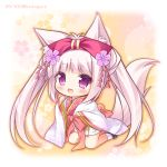 1girl :d animal_ear_fluff animal_ears bangs black_footwear blush bow chibi commentary_request eyebrows_visible_through_hair flower fox_ears fox_girl fox_tail full_body hair_bow hanairo_heptagram hands_up japanese_clothes kimono kneeling long_hair long_sleeves looking_at_viewer miyuri open_mouth paw_pose pink_hair purple_flower red_bow ryuuka_sane short_kimono sidelocks sleeves_past_wrists smile socks solo tail twintails twitter_username very_long_hair violet_eyes white_kimono white_legwear wide_sleeves zouri