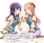 2girls bangs barrette blue_hair braid brown_hair closed_eyes commentary_request crayon drawing hair_between_eyes hair_ornament hairclip hand_on_another's_face happy hat heru_(totoben) long_hair looking_at_another love_live! love_live!_school_idol_festival love_live!_school_idol_project minami_kotori multiple_girls one_eye_closed open_mouth paper sitting smile sonoda_umi yellow_eyes