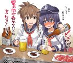 2girls absurdres akatsuki_(kantai_collection) alcohol anchor anchor_symbol bangs beer blush bottle commentary_request cup drink drinking_glass eyebrows_visible_through_hair eyes_visible_through_hair flat_cap folded_ponytail food hat highres holding holding_bottle inazuma_(kantai_collection) indoors kantai_collection kokutou_nikke long_hair long_sleeves meat multiple_girls neckerchief nose_blush open_mouth ponytail pouring purple_hair red_neckwear sailor_collar school_uniform serafuku sitting steam table translation_request wavy_eyebrows