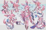 1girl ass blue_eyes blush bow closed_eyes closed_mouth eyebrows_visible_through_hair facing_viewer garter_straps humanization kantarou_(8kan) long_hair looking_at_viewer one_eye_closed open_mouth pink_bow pink_hair pink_legwear pokemon smile sylveon thigh-highs