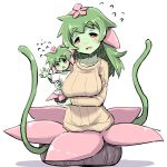 2girls bangs blush breasts brown_sweater collarbone eyebrows_visible_through_hair flower flying_sweatdrops green_hair green_skin hair_flower hair_ornament large_breasts long_hair long_sleeves looking_at_viewer monster_girl mother_and_daughter multiple_girls open_mouth original pink_flower plant_girl red_eyes shadow shirt short_sleeves sweater thick_eyebrows u-non_(annon'an) wavy_mouth white_background white_shirt wide_sleeves