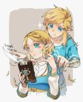 1boy 1girl :q ahoge bandaged_arm bandages bangs blue_eyes blue_shirt blush braid closed_mouth collarbone comb commentary crown_braid cutting_hair english_commentary hand_mirror holding holding_sword holding_weapon link long_sleeves mirror natsuyon parted_bangs pointing pointy_ears princess_zelda sheikah_slate shirt short_sleeves sidelocks sparkle sweat sword the_legend_of_zelda the_legend_of_zelda:_breath_of_the_wild the_legend_of_zelda:_breath_of_the_wild_2 tongue tongue_out twitter_username two-tone_background upper_body v-shaped_eyebrows weapon