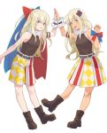 2girls alternate_costume alternate_hairstyle armband bangs belt blonde_hair blue_eyes blush breasts claw_pose commentary_request dual_persona eyebrows_visible_through_hair hair_between_eyes hair_ornament highres kantai_collection long_hair looking_at_viewer multicolored multicolored_clothes multiple_girls one-piece_tan open_mouth ponytail ribbon ro-500_(kantai_collection) scrunchie shoes shorts simple_background skirt small_breasts smile standing tan tanline u-511_(kantai_collection) ueno_(sakumogu-029) white_background wrist_ribbon wrist_scrunchie
