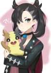 1girl black_choker black_hair black_jacket blue_eyes carrying choker closed_mouth collarbone dress expressionless highres jacket long_hair long_sleeves looking_at_viewer mary_(pokemon) mizuki_eiru_(akagi_kurage) morpeko pink_dress pokemon pokemon_(creature) pokemon_(game) pokemon_swsh twintails two-tone_background upper_body