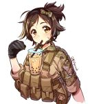 1girl bangs black_gloves blush bow brown_eyes brown_hair brown_jacket bubble_tea bubble_tea_challenge camouflage_jacket closed_mouth collared_jacket commentary cropped_torso cup danielle_brindle disposable_cup drinking drinking_straw english_commentary eyebrows_visible_through_hair gloves hair_bow hair_ornament hairclip hand_up head_tilt jacket long_sleeves looking_at_viewer original ponytail print_bow simple_background solo sweat swept_bangs twitter_username upper_body white_background