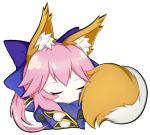 1girl animal_ear_fluff animal_ears blue_kimono closed_eyes cute fate/extella fate/extra fate/extra_ccc fate/grand_order fate_(series) fox_ears fox_girl fox_tail japanese_clothes kimono long_hair looking_at_viewer lying nepsuka_(hachisuka) on_side pink_hair shaft_(studio) simple_background sleeping solo tail tamamo_(fate)_(all) tamamo_no_mae_(fate) type-moon white_background yellow_eyes
