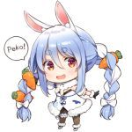 1girl animal_ear_fluff animal_ears bangs black_gloves black_legwear blue_hair bow bowtie braid bunny_girl carrot carrot_hair_ornament catchphrase chibi extra_ears eyebrows eyebrows_visible_through_hair food_themed_hair_ornament full_body gloves hair_ornament hololive leg_garter long_braid long_hair lowres multicolored_hair open_mouth pantyhose rabbit_ears scar smile solo speech_bubble standing symbol-shaped_pupils twin_braids two-tone_hair usada_pekora virtual_youtuber white_background white_footwear white_hair yuuki_hagure