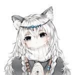 1girl animal_ear_fluff animal_ears arknights bangs braid circlet covered_mouth gloves grey_eyes hair_between_eyes hands_together leopard_ears long_hair looking_at_viewer pale_skin pramanix_(arknights) side_braids simple_background solo turtleneck twin_braids very_long_hair white_background white_gloves white_hair windworker