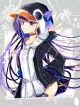 1girl animal_costume blue_eyes cauli_flower choker collarbone fate/extra fate/extra_ccc fate/grand_order fate_(series) floral_background flower hair_ribbon hood hood_up hoodie long_hair meltryllis parted_lips penguin_costume purple_hair ribbon sleeves_past_wrists solo twitter_username very_long_hair