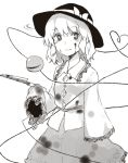 1girl bangs blood blood_on_face bloody_clothes bow commentary_request cowboy_shot eyebrows_visible_through_hair floral_print frilled_shirt_collar frilled_sleeves frills greyscale hat hat_bow heart heart_of_string holding holding_knife holding_weapon knife komeiji_koishi long_sleeves looking_at_viewer miyo_(ranthath) monochrome shirt short_hair simple_background skirt sleeves_past_fingers sleeves_past_wrists smile solo standing third_eye touhou weapon white_background wide_sleeves