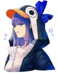 1girl :q animal_costume blue_eyes bow bra_strap choker collarbone eyebrows_visible_through_hair fate/extra fate/extra_ccc fate/grand_order fate_(series) hair_bow highres hood hood_up hoodie long_hair meltryllis penguin_costume profile simple_background star tongue tongue_out upper_body white_background yuririensu