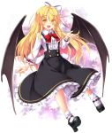 1girl :d aka_tawashi bangs black_footwear black_skirt blonde_hair blush bow bowtie center_frills commentary_request demon_wings dress eyebrows_visible_through_hair fang frilled_shirt_collar frilled_sleeves frills full_body hair_between_eyes hair_bow hand_up high_heels highres kurumi_(touhou) legs long_hair long_sleeves looking_at_viewer mary_janes open_mouth petticoat red_bow red_neckwear ribbon shoes skirt smile socks solo suspender_skirt suspenders tooth touhou touhou_(pc-98) vampire white_background white_bow white_legwear wings yellow_eyes