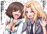 ;d akiyama_yukari bangs black_neckwear blazer blonde_hair blouse blue_eyes brown_hair commentary dress_shirt emblem eyebrows_visible_through_hair flying_sweatdrops frown girls_und_panzer grey_jacket hair_intakes hand_on_another's_shoulder hands_together happy_birthday highres jacket kay_(girls_und_panzer) long_hair long_sleeves looking_at_another loose_necktie messy_hair neckerchief necktie omachi_(slabco) one_eye_closed ooarai_school_uniform open_clothes open_jacket open_mouth saunders_(emblem) saunders_school_uniform school_uniform serafuku shirt short_hair sleeves_rolled_up smile translated waving white_blouse white_shirt wing_collar