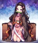 1girl artist_name black_hair blush brown_hair eyebrows highres kamado_nezuko kimetsu_no_yaiba kneeling long_hair long_sleeves looking_at_viewer multicolored_hair pink_eyes pink_nails sasucchi95 solo two-tone_hair very_long_hair watermark