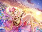 blonde_hair blue_eyes dress long_hair lute_(instrument) shoujo_kageki_revue_starlight smile yumeoji_fumi
