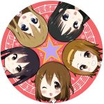 5girls akiyama_mio beamed_eighth_notes black_eyes black_hair blonde_hair blue_eyes brown_eyes brown_hair circle commentary_request copyright_name eighth_note grin head_only hirasawa_yui k-on! kotobuki_tsumugi long_hair looking_at_viewer masamuuu multiple_girls musical_note nakano_azusa open_mouth quarter_note round_teeth short_hair smile staff_(music) star tainaka_ritsu teeth upper_teeth