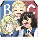 3girls andou_(girls_und_panzer) bangs bc_freedom_(emblem) bc_freedom_school_uniform black_hair blonde_hair blue_eyes brown_eyes cake cheek_poking closed_eyes dark_skin eating emblem food food_on_face girls_und_panzer long_hair long_sleeves marie_(girls_und_panzer) medium_hair messy_hair multiple_girls necktie open_mouth oshida_(girls_und_panzer) poking school_uniform smile sutahiro_(donta) sweater vest