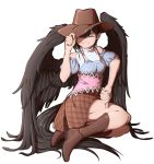 1girl bare_shoulders black_hair black_wings boots brown_footwear cowboy_boots cowboy_hat dress feathered_wings hand_on_headwear hand_on_own_thigh hat highres horse_tail kurokoma_saki looking_at_viewer mefomefo off-shoulder_dress off_shoulder one_eye_closed puffy_short_sleeves puffy_sleeves red_eyes scarf short_sleeves sitting smile solo tail thumbs_down touhou white_scarf wings yokozuwari
