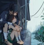 1boy 1girl androgynous artist_name bandages barefoot black_hair building child closed_mouth commentary dororo_(character) dororo_(tezuka) drainpipe english_commentary hands_on_another's_shoulders highres hyakkimaru_(dororo) japanese_clothes kimono leg_hug long_hair marmalade_(elfless_vanilla) outdoors ponytail power_lines rain red_eyes sitting
