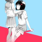 2girls absurdres between_legs bow bowtie hair_ribbon hand_on_another's_back hand_on_another's_shoulder hibike!_euphonium highres hisaishi_kanade looking_at_another multiple_girls neckerchief oumae_kumiko pleated_skirt ribbon sailor_collar school_uniform shiratama_mochi short_hair short_sleeves sitting skirt smile thighs yuri