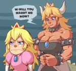 2girls bare_shoulders black_dress blonde_hair blue_eyes blush bowsette bracelet breasts brooch chibi collar commentary crown dark_skin dress elbow_gloves english_commentary english_text frown gloves height_difference jewelry large_breasts mario_(series) medium_hair multiple_girls muscle muscular_female new_super_mario_bros._u_deluxe nose nose_blush pink_dress platinum_blonde_hair princess_peach proposal shy spiked_armlet spiked_bracelet spiked_collar spiked_tail spikes strapless strapless_dress super_crown tail thick_eyebrows whistle_frog white_gloves yuri