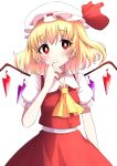 1girl arm_at_side arm_up blonde_hair blush bright_pupils commentary_request cowboy_shot cravat eyebrows_visible_through_hair finger_in_mouth flandre_scarlet hat hat_ribbon head_tilt highres looking_at_viewer mob_cap puffy_short_sleeves puffy_sleeves red_eyes red_nails red_skirt red_vest ribbon shirt short_hair short_sleeves side_ponytail simple_background skirt solo standing touhou tsukimirin vest white_background white_headwear white_pupils white_shirt wings yellow_neckwear