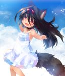 1girl animal_ear_fluff animal_ears armpits black_hair bow clouds collar commentary_request dog_ears dog_tail dress fang hair_bow highres kannagi_cocoa long_hair open_mouth original outdoors outstretched_arms red_eyes ribbon sky smile solo sundress tail tan tanline toba_hiyoko white_dress