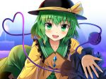 1girl :d bangs black_headwear blush collarbone commentary_request e.o. eyebrows_visible_through_hair frilled_shirt_collar frilled_sleeves frills green_eyes green_hair green_skirt hair_between_eyes hat hat_ribbon heart heart_of_string komeiji_koishi long_sleeves looking_at_viewer open_mouth ribbon shirt short_hair skirt smile solo third_eye touhou upper_body wide_sleeves yellow_ribbon yellow_shirt