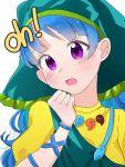 1girl blue_hair dress english_text eringi_(rmrafrn) haniyasushin_keiki jewelry long_hair necklace shirt solo touhou upper_body violet_eyes yellow_dress