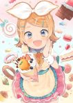 1girl :d apron biscuit blonde_hair blue_eyes blueberry bow cake candy chocolate_bar cookie crepe doughnut food frilled_apron frills fruit gradient gradient_background hair_bow hair_ornament hairclip hand_on_own_cheek hand_on_own_face hatsune_miku_graphy_collection ice_cream_cone juliet_sleeves kagamine_rin kouhara_yuyu lollipop long_sleeves macaron mini_necktie muffin official_art open_mouth pastel_colors pastry pocky puffy_sleeves short_hair short_sleeves smile solo sparkle strawberry treble_clef vocaloid wrist_cuffs yellow_nails