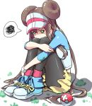 1girl black_legwear blue_eyes blush brown_hair commentary_request defeat double_bun frustrated full_body highres knees_up leg_hug legwear_under_shorts long_hair looking_at_viewer mei_(pokemon) pantyhose poke_ball poke_ball_(generic) pokemon pokemon_(game) pokemon_bw2 raglan_sleeves shoes short_shorts shorts sitting sneakers solo tatami_(loop) tearing_up twintails very_long_hair visor_cap yellow_shorts