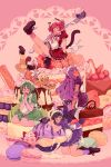 5girls ;p aizawa_mint animal_ears apron bird_tail black_hair black_wings blonde_hair blueberry blush bow braid brown_dress brown_eyes cake cat_ears cat_tail commentary crossed_legs dog_ears dog_tail doily double_bun dress english_commentary feathered_wings fong_pudding food fork frilled_apron frills fruit fujiwara_zakuro glasses green_bow green_dress green_eyes green_hair green_legwear hands_clasped headdress heart holding holding_fork ice_cream kneeling leg_up legs_up long_hair lying macaron midorikawa_lettuce momomiya_ichigo multiple_girls on_stomach one_eye_closed orange_dress oversized_food oversized_object own_hands_together pink_background pink_bow pink_eyes pink_hair pudding puffy_short_sleeves puffy_sleeves purple_dress purple_hair purple_legwear rii_abrego round_eyewear shoes short_hair short_sleeves sitting socks strawberry tail tokyo_mew_mew tongue tongue_out twin_braids violet_eyes waitress wariza white_apron wings yellow_legwear