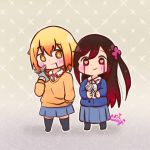 2girls artist_name black_hair blonde_hair blood blood_from_mouth bloody_tears blue_skirt blush cellphone cross frown gradient_hair grey_background gun heart heart-shaped_pupils hitori_bocchi hitoribocchi_no_marumaru_seikatsu long_hair mahou_shoujo_site medium_hair multicolored_hair multiple_girls no_shoes parody phone red_eyes school_uniform simple_background skirt smartphone smile sunao_nako symbol-shaped_pupils weapon yellow_eyes yuri-usagi