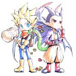2boys belt black_hair blonde_hair blue_eyes blue_pants boots dragon_quest dragon_quest_builders_2 full_body gloves gunjou_(88588) hammer hand_on_hip heart holding holding_hammer knee_boots long_hair male_builder_(dqb2) male_focus monster_boy multiple_boys orange_pants pants pointy_ears ponytail purple_shirt red_eyes red_footwear red_gloves red_scarf scarf shirt shoes sidoh_(dqb2) simple_background skull_belt snake spiky_hair spoilers standing white_background white_shirt wings yellow_footwear yellow_gloves