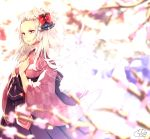 1girl animal_ear_fluff animal_ears blurry blurry_background blurry_foreground bow chita_(ketchup) commentary_request depth_of_field forehead fox_ears fox_girl fox_tail hakama hands_on_own_chest hands_up highres japanese_clothes kimono long_hair original parted_lips print_kimono purple_hakama red_bow red_eyes red_kimono short_eyebrows signature solo tail thick_eyebrows tree_branch v-shaped_eyebrows very_long_hair white_hair yagasuri