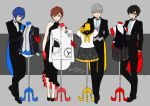 1girl 3boys amamiya_ren arm_behind_back atlus bangs black_dress black_eyes black_hair black_neckwear black_suit blue_eyes blue_hair bow bowtie brown_hair closed_mouth commentary_request dress female_protagonist_(persona_3) formal full_body glasses gloves grey_eyes grey_hair long_sleeves looking_at_viewer mannequin megami_tensei multiple_boys narukami_yuu persona persona_3 persona_4 persona_5 plaid plaid_skirt red_eyes red_gloves school_uniform serafuku shiomi_kotone short_hair short_sleeves skirt smile suit tuxedo vest yasuu! yellow_gloves yellow_neckwear yuuki_makoto
