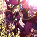 1girl black_legwear blonde_hair blurry capelet carol_malus_dienheim claws commentary_request depth_of_field elbow_gloves gloves hair_between_eyes hat highres hinomoto_madoka looking_at_viewer open_mouth outstretched_arm purple_hair ribs senki_zesshou_symphogear shiny shiny_hair shiny_skin short_hair skirt solo spoilers teeth thigh-highs witch_hat