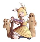 1girl arm_guards armor blonde_hair blue_footwear boots crack double_bun fingernails hair_ribbon haniwa_(statue) head_tilt highres joutougu_mayumi knee_boots light_smile looking_at_viewer mefomefo pants puffy_pants ribbon seiza short_hair simple_background sitting solo touhou white_background white_pants yellow_eyes