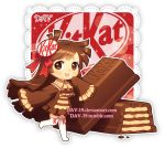 1girl :d artist_name bangs blush bow brown_dress brown_eyes brown_hair chibi chocolate commentary dav-19 dress eyebrows_visible_through_hair food hair_bow hair_ornament kitkat long_hair long_sleeves looking_at_viewer no_shoes open_mouth original personification red_bow sleeves_past_fingers sleeves_past_wrists smile solo standing standing_on_one_leg thigh-highs transparent_background upper_teeth very_long_hair watermark web_address white_legwear wide_sleeves