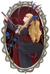 1girl bangs baton_(instrument) black_dress black_feathers blonde_hair blue_eyes blue_flower blue_rose commentary_request cross doll dress elisabeth_von_wettin elyse feathers flower frilled_dress frills hair_feathers headdress juliet_sleeves long_dress long_hair long_sleeves looking_up marchen open_mouth ponytail puffy_sleeves red_frills ribbon rose sidelocks smile sound_horizon straight_hair white_dress yasuu!