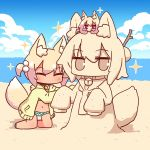 2girls ^_^ animal_ear_fluff animal_ears animalization bangs beach bell bell_collar bikini bikini_under_clothes blonde_hair blue_bikini blue_footwear blue_sky blush brown_collar closed_eyes clouds cloudy_sky collar crab day eyebrows_visible_through_hair fox_ears fox_girl fox_tail frilled_bikini frills hair_between_eyes hair_bobbles hair_bun hair_ornament highres hood hood_down hooded_jacket horizon jacket jingle_bell kemomimi-chan_(naga_u) kneeling long_hair long_sleeves multiple_girls naga_u ocean open_clothes open_jacket original outdoors sand sand_sculpture sandals sidelocks sky sleeves_past_fingers sleeves_past_wrists swimsuit tail tan two_side_up v-shaped_eyebrows water yellow_jacket