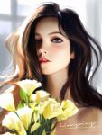 1girl bare_shoulders blue_eyes blurry blurry_background blurry_foreground brown_hair english_commentary face flower hair_over_one_eye highres liang_xing lips long_hair looking_at_viewer original parted_lips patreon_username realistic signature solo watermark web_address
