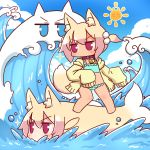 2girls animal_ear_fluff animal_ears animalization bangs bell bell_collar bikini bikini_under_clothes blonde_hair blue_bikini blue_eyes blue_sky blush brown_collar clouds collar day eyebrows_visible_through_hair fish fox_ears fox_girl fox_tail frilled_bikini frills hair_between_eyes hair_bobbles hair_ornament highres hood hood_down hooded_jacket jacket jingle_bell kemomimi-chan_(naga_u) long_hair long_sleeves multiple_girls naga_u original outdoors red_eyes sidelocks sky sleeves_past_fingers sleeves_past_wrists sparkle sun surfing swimsuit tail tan two_side_up v-shaped_eyebrows water waves yellow_jacket