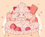alcremie commentary cream dessert food fruit full_body gen_8_pokemon no_humans pink_background pokemon pokemon_(creature) pokemon_swsh pudding rii_abrego solo strawberry wafer