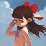1girl alkemanubis arm_up bikini bikini_top bow brown_hair child clouds from_side green_eyes hair_bow highres long_hair looking_to_the_side open_mouth original outdoors purple_bikini_top ribbon sky solo swimsuit upper_body wind
