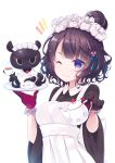 1girl animal apron black_dress black_gloves black_hair blue_eyes blush breasts collared_dress commentary_request cup dress fate/grand_order fate_(series) gloves grin hair_bun hair_ornament highres holding holding_cup holding_plate holding_teapot katsushika_hokusai_(fate/grand_order) ko_yu long_sleeves looking_at_viewer maid_headdress medium_breasts notice_lines octopus one_eye_closed plate simple_background smile tea teacup teapot tokitarou_(fate/grand_order) upper_body white_apron white_background wide_sleeves