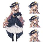 1girl :o bangs bare_shoulders black_dress black_footwear black_headwear boots brown_hair closed_mouth curly_hair detached_sleeves dress expressions frilled_dress frills full_body hair_over_one_eye half-closed_eyes hat hat_ribbon highres ikeuchi_tanuma long_dress long_hair long_sleeves open_mouth original red_eyes ribbon sidelocks sleeves_past_fingers sleeves_past_wrists smile solo standing v-shaped_eyebrows very_long_hair